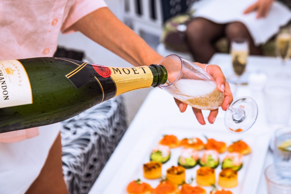 Champagne and canape service