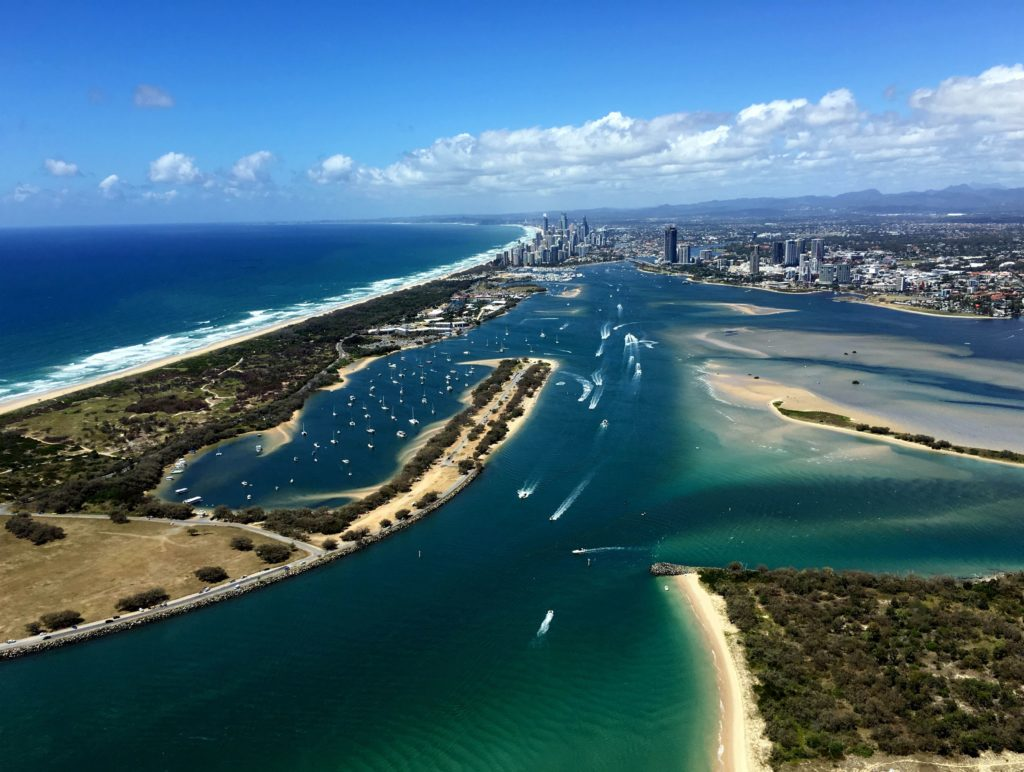 Gold Coast Broadwater aerial view