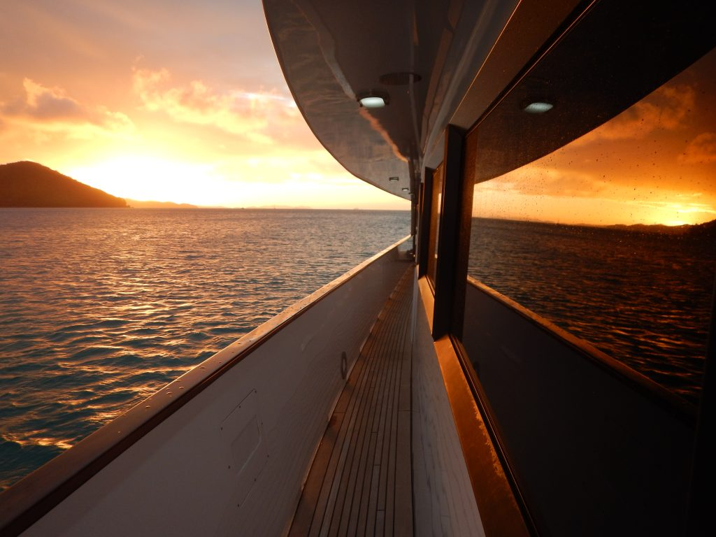 Whitsundays Sunset Yacht Window Reflection