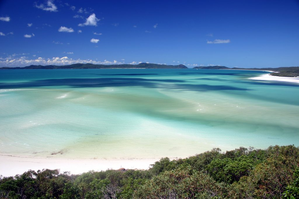 Whitsunday Islands view of Whitehaven Beach with turquoise water and white sand